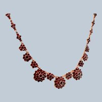 Antique Bohemian Garnet Gemstone Necklace Gilt Sterling Silver