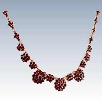 Antique Bohemian Garnet Gemstone Necklace Gilt Sterling Silver
