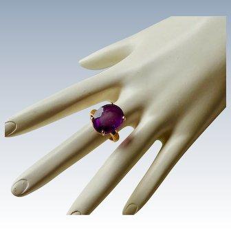 Vintage 14K Oval Cut Amethyst Gemstone Ring
