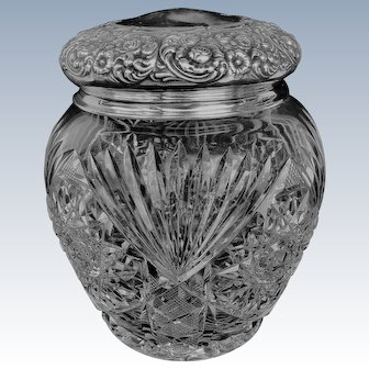 Victorian/Edwardian Brilliant Cut Glass And Sterling Top Tobacco Jar/Humidor - Unger Brothers
