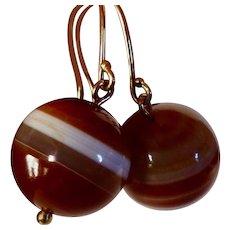 Antique Scottish Banded Agate Earrings - 14K