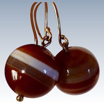 Antique Scottish Banded Agate Earrings - 14K