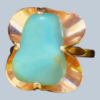 Retro Russian Persian Turquoise  Ring 14K Rose Gold