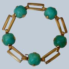 Retro 14K Gold and Turquoise Bracelet