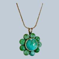 Antique Nouveau 14k Turquoise Pendant