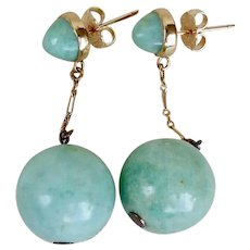 Art Deco Dangle Drop 18K Yellow Gold Jadeite Earrings - French