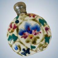 Antique Zsolnay Fischer Ladies Flask Bottle Porcelain Painted