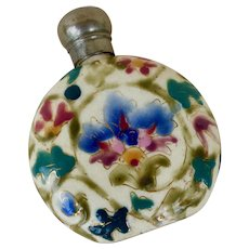 Antique Zsolnay Fischer Ladies Flask Bottle Porcelain Painted
