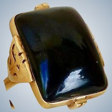 MING'S Honolulu Black Jadeite Rectangular Cabochon Ring, 14K Gold