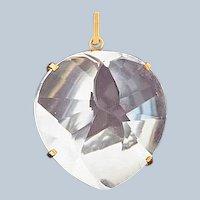 Retro 18k Gold Quartz Crystal Pool of Light Drop Pendant/Charm