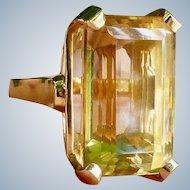 Retro 14k Gold Emerald Cut Citrine Cocktail Ring, Circa 1940/1950