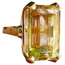Retro 14k Gold Emerald Cut Citrine Cocktail Ring, Circa 1940/1950