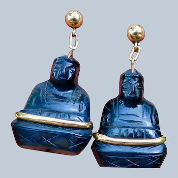 Carved Cat's Eye Gemstone Buddha Earrings set And 14K Yellow Gold