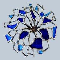 Mid Century Brutalist Sterling Enamel Pendant / Pin - David  Andersen, Norway