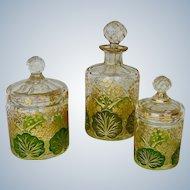 Antique  Art Nouveau Etched Gilt Enameled Crystal Dresser Vanity Set