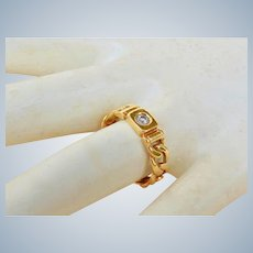 18K Yellow Gold Natural Diamond Stacking Band Ring