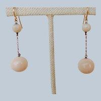 Art Deco 14K Rose Gold And Angel Skin Coral Dangle Earrings