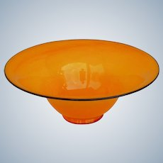 Large Czech Kralik Black Piping Tango Orange Art Glass Bowl - Loetz Art Deco