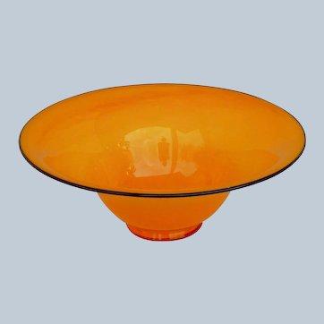 Large Czech Kralik Black Piping Tango Orange Art Glass Bowl - Loetz Art Deco