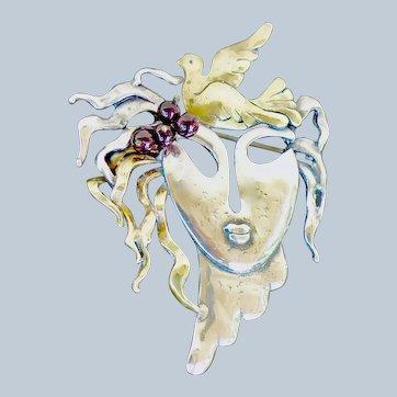 Modernist Whimsical  Mask Brooch, Sterling Silver, Copper, Garnets
