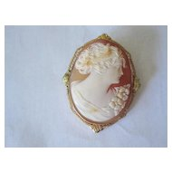 Carved Cameo Gold Brooch