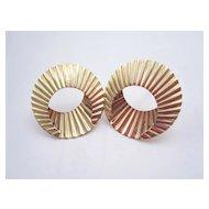 14K yellow Gold hoop Earrings, designer signed spiral 2.1g