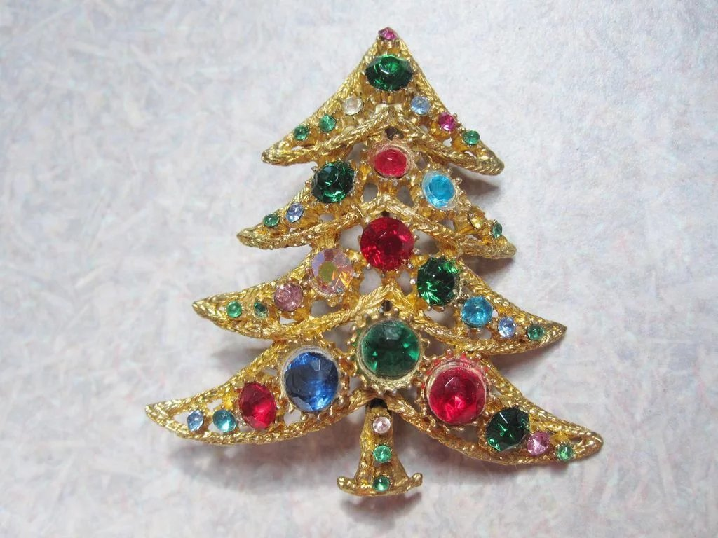 Charming Christmas Tree Pin, Store Stock, open stone back for extra : The Fair Mirror | Ruby Lane