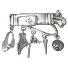 Golfing Bag motif brooch with sport dangles