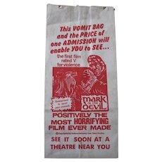 MARK OF THE DEVIL Movie Promo VOMIT BARF BAG, promotional horror film giveaway, drive in movie memorabilia
