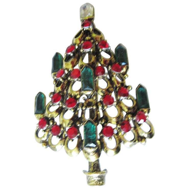 Hollycraft Christmas Tree Pin With Jeweled Candles - Hollycraft Christmas Tree Pin With Jeweled Candles : The Fair Mirror