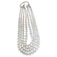 Trifari 4 strand faux baroque pearl necklace