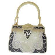 Art Deco Rare vintage Purse With Black Enamel Celluoid