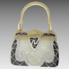 Art Deco Rare vintage Purse With Black Enamel Celluoid