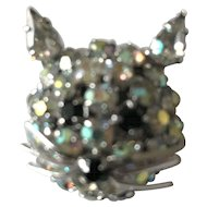 Warner designer signed Cat Kitty Brooch Pin With Sparkling Stones