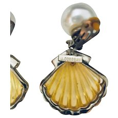 Rare Ugo Correani Clamshell Earrings, Vintage Costume Jewelry Couture Lucite Faux Pearl Rhinestone
