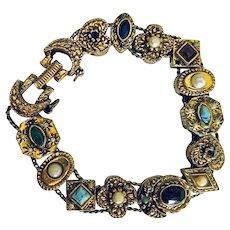 Goldette New York Vintage Slide Bracelet With Jewels, Made to look Victorian