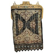 Enameled Mesh Mandalian Rug Motif Purse Handbag, Jeweled Frame, Lined All original
