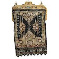 Enameled Mesh Mandalian Rug Motif Purse Handbag, Jeweled Frame, Lined All original