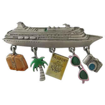 Lets get on a Cruise Ship! Dangling JJ Jonette Jewelry Pin with luggage, sunglasses, camera, passport & palm tree! Colored Accent Pieces