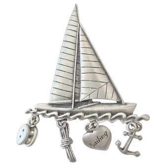 Let's go Sailing! Dangling JJ Jonette Jewelry Pin with Anchor, Rope & other sailor's essentials dangling from a Sailboat!