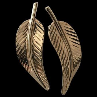 Grosse Designer Signed Textured Earrings Ear Clips