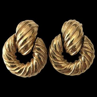 Signed Kenneth Lane Designer Heavy Door Knocker Goldtone Earrings