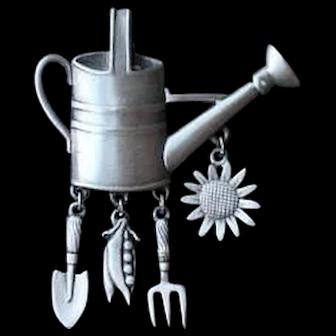 JJ Garden Brooch Pin With Dangling fork, peas, sunflower, spade.