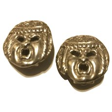 Fabulous Vintage Sterling silver Peruzzi clip earrings clip backs, 800 silver Peruzzi Florence figural grotesque faces