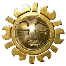 Heavy Vintage Mexican Brooch of the smiling sun. Sterling Silver 925 Metales Mexico TR