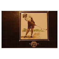 Vintage Signed Hand Painted Lady Golfer Tile Jewelry Box