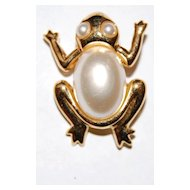 Signed Napier Faux Pearl Frog Pin