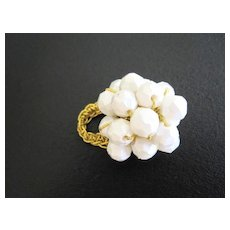 White Bead Cluster Ring, Possibly Designer Piece