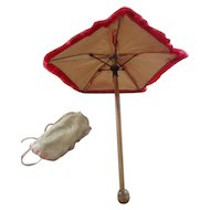 Antique Red Parasol with muff