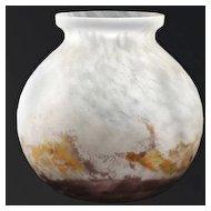 c.1920s Deco Frosted & Mottled Glass Vase, Possibly Muller Freres